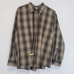 NATURAL ISSUE MEN'S PLAID BUTTON UP - XL